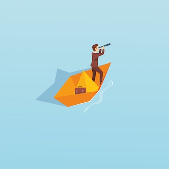 Vector illustration of a man with paper boat