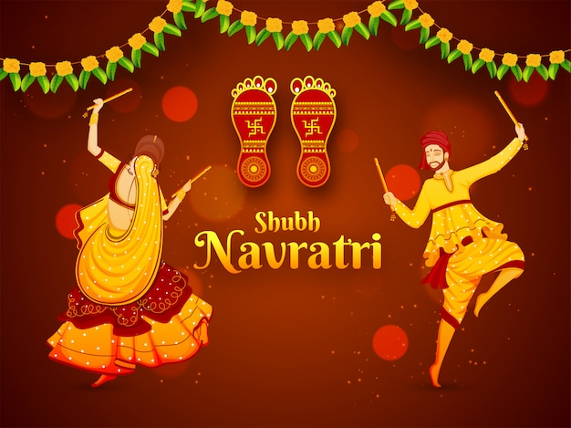 Vector illustration of man and woman dancing with dandiya stick