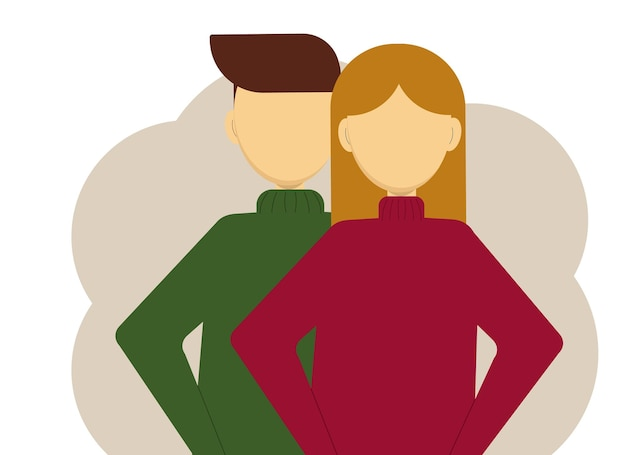 Vector illustration of a man and a woman in knitted sweaters