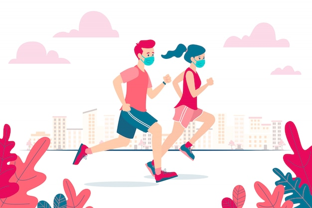 Vector illustration of a man and woman running and wearing a face mask because of the coronavirus and the new normal