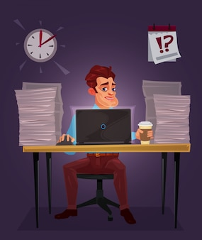 Vector illustration of a man working on the laptop Free Vector