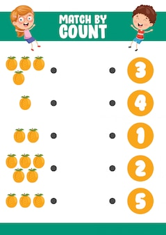 Vector illustration of match by count exercise