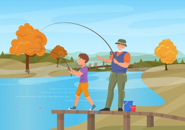 Vector illustration of mature man standing on pier with boy grandson and fishing