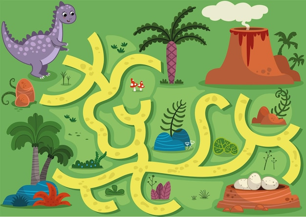 Vector illustration maze game with dinosaur theme can you help the dinosaur to find the eggs