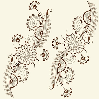 Vector illustration of mehndi ornament. traditional indian style, ornamental floral elements for henna tattoo, stickers, mehndi and yoga design, cards and prints. abstract floral vector illustration.