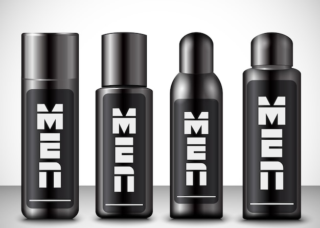 Vector illustration of men cosmetic bottles
