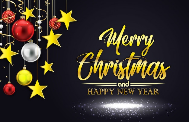 Vector illustration of merry christmas on black background