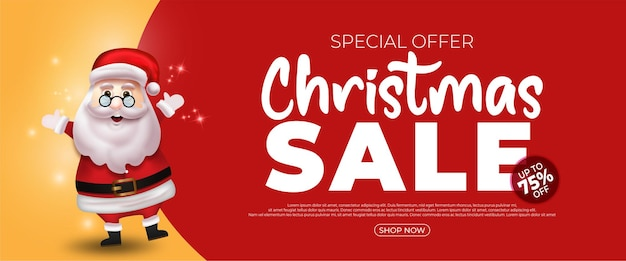 Vector illustration merry christmas sale banner template with santa claus on red and yellow background