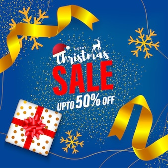 Vector illustration of merry christmas sale banner template