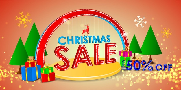 Vector illustration of merry christmas sale banner
