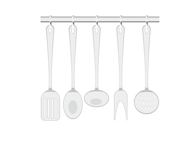 Vector illustration of metal kitchen utensils hanging on hooks, scoop, spatula, spoon, fork.