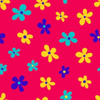 Vector illustration of minimalist style bright multicolored flowers forming seamless pattern on pink background