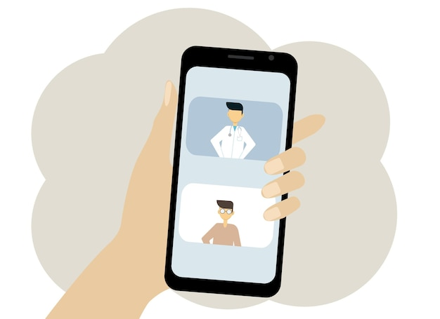 Vector illustration of a mobile phone in hand depicting an online meeting.