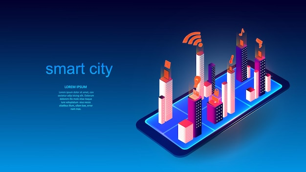 Vector illustration of a mobile phone with buildings and elements of a smart city. science, futuristic, web, network concept, communications, high technology. eps 10