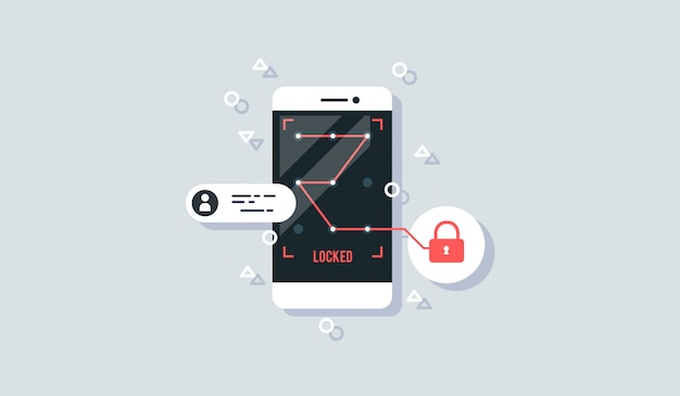 Vector illustration of mobile security flat design concept.