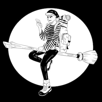 Vector illustration of a modern flying backpacker witch