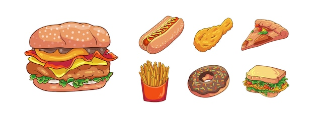 Vector illustration modern junk food hand drawn cartoon coloring style