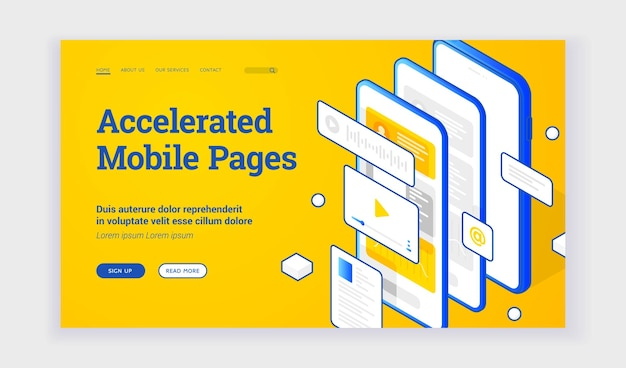 Vector illustration of modern smartphone with several fast websites and applications on advertisement banner for accelerated mobile pages technology. isometric web banner, landing page template