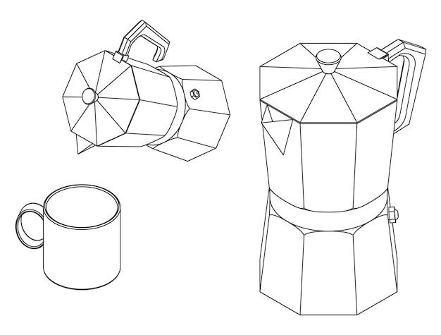Vector illustration of moka pot coffee maker