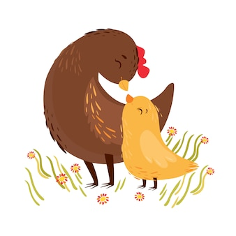 Vector illustration. mom chicken and baby chicken. greeting card, mother's day