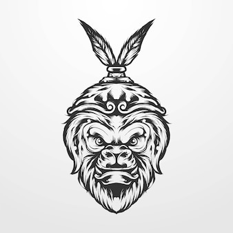 Vector illustration of monkey king with royal crown vintage classic, old style monochrome. suitable for t-shirts, prints, logos and other apparel products