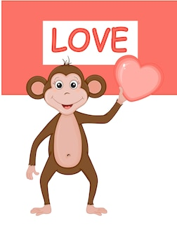 Vector illustration of a monkey for valentine's day.