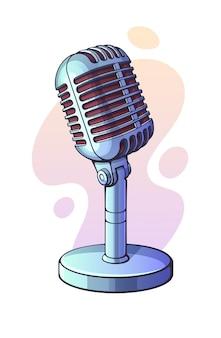 벡터 일러스트 레이 션. 음성, 음악, 소리, 말하기, 라디오 녹음을 위한 흑백 복고풍 마이크. 재즈, 블루스, 록 빈티지 마이크. 그래픽 디자인을 위한 윤곽선이 있는 클립 아트. 흰색 배경에 고립