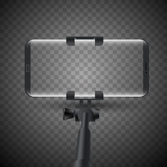 Vector illustration of monopod selfie stick with smartphone.