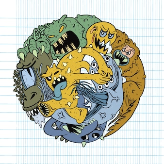 Vector illustration of monster fight club