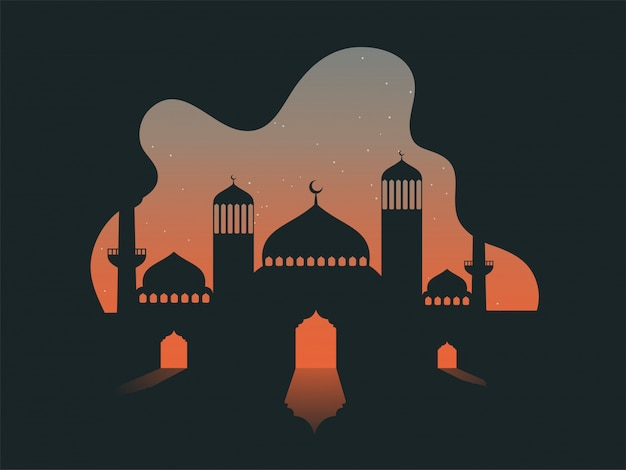 Vector illustration of mosque on abstract stars night background