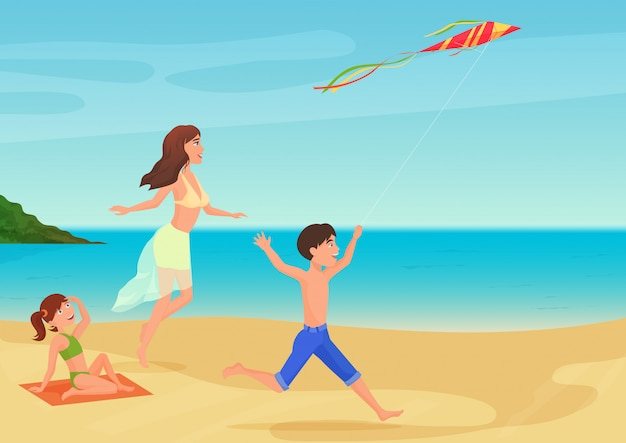 Vector illustration of mother having fun with children on beach and playing with kite.