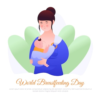Vector illustration of a mother holding and breastfeeding her child