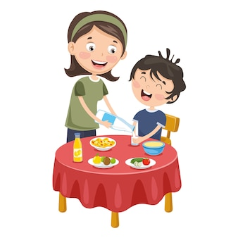 Vector illustration of mother prepare breakfast for kid