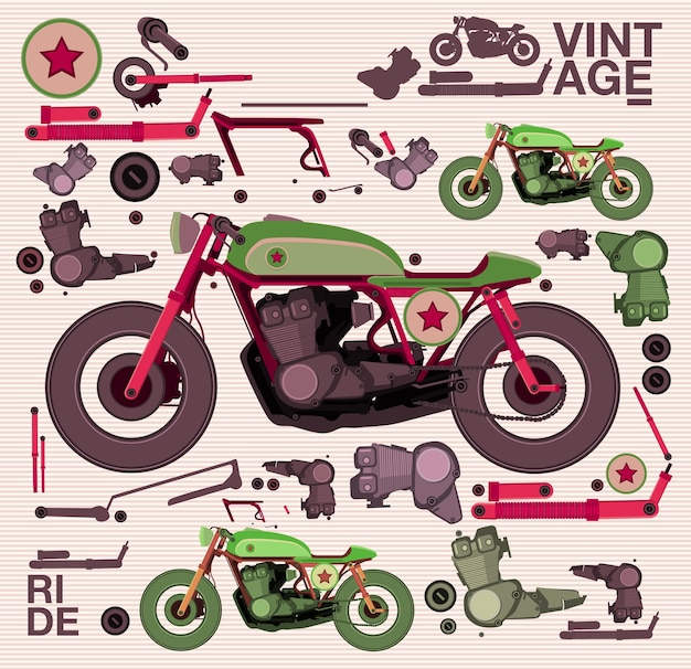 Vector illustration motorbike caferacer and the machines