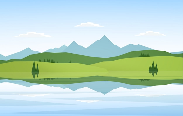 Vector illustration: mountain lake landscape with pine and reflection.