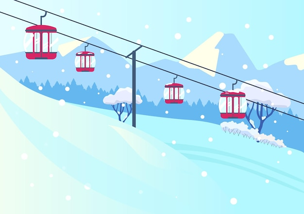 Vector illustration of mountain slope landscape with cableway in flat style. snowy mountains with lift.