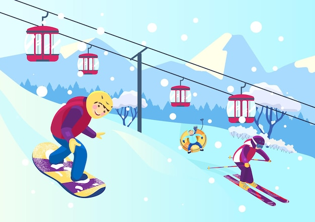 Vector illustration of mountain slope with people doing different winter sports. snowboarding, skiing, snow tubing. cableway. snowy mountains landscape.