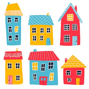 Vector illustration of multi-colored cartoon primitive houses isolated