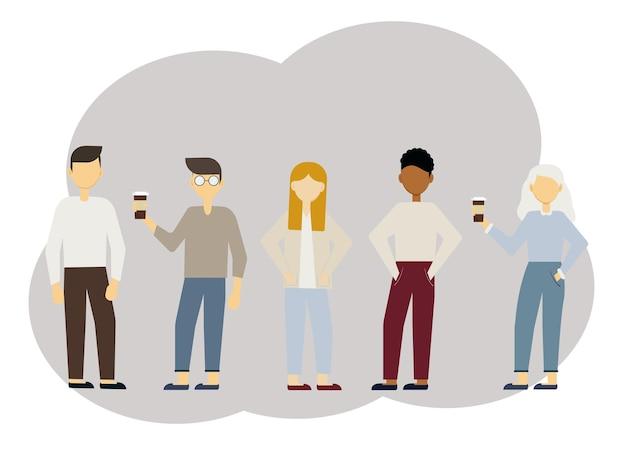 Vector illustration of multi-ethnic stylish men and women. communication