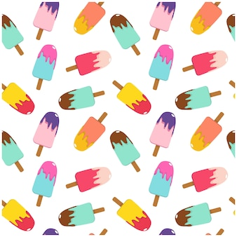 Vector illustration multicolored ice cream on a stick bright seamless pattern