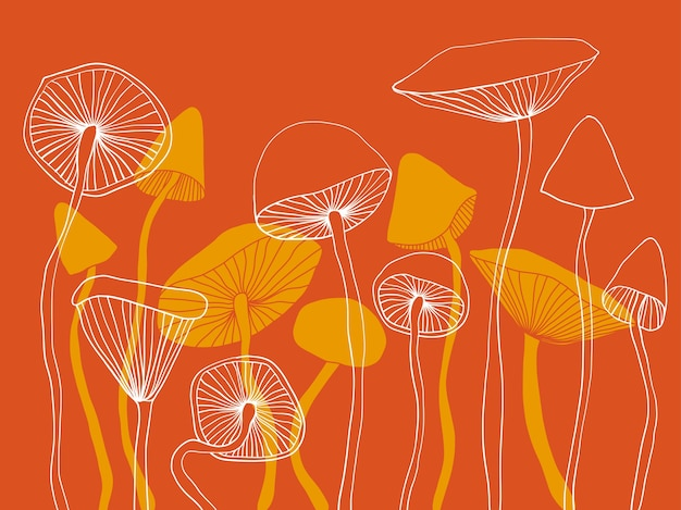 Vector illustration of mushrooms abstract graphic