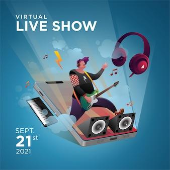 Векторная иллюстрация музыкант-исполнитель на афише виртуального концерта