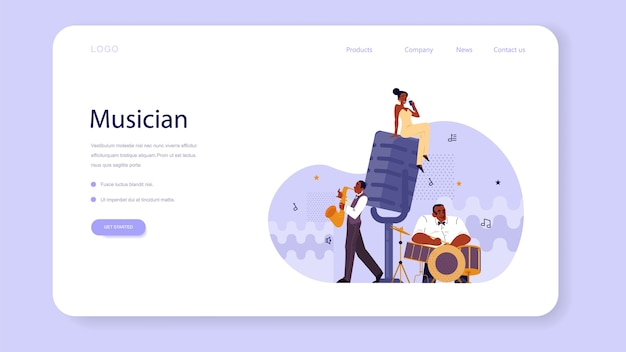 Vector illustration of musician playing music web banner or landing page