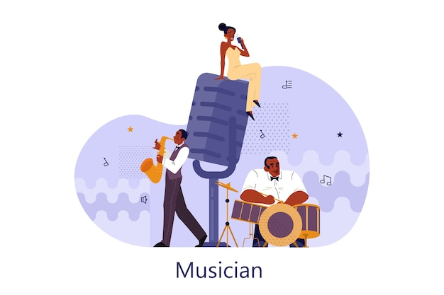Vector illustration of musician playing music. woman holding an microphone and sing. male performer standing with saxophone and drums and performing. jazz rock music band festival.