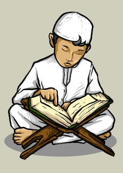 Vector illustration of muslim kid reading quran - vector