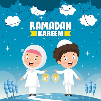 Vector illustration of muslim kids celebrating ramadan