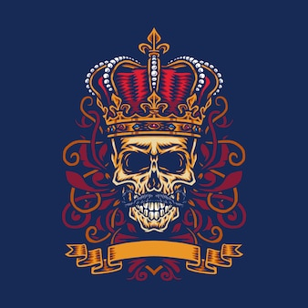 Vector illustration of a mustache skull wearing a king's crown