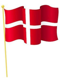 Vector illustration of the national flag of denmark