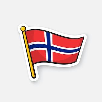 ベクトルイラスト旅行者のためのflagstaffロケーションシンボルのノルウェーの国旗