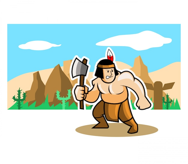 Vector illustration of native american in front of mountain panoramic view
